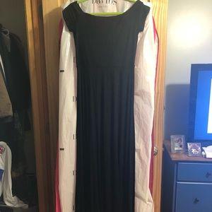 LOFT off the shoulder black maxi dress